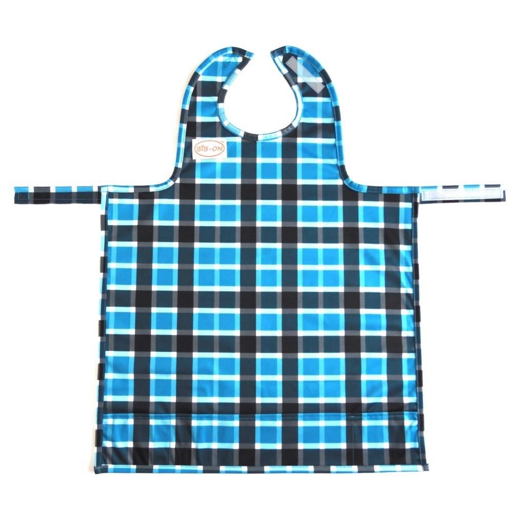 BIB-ON, A New, Full-Coverage Bib and Apron Combination for Infant, Baby, Toddler Ages 0-4+. One Size Fits All! (Blue Plaid)