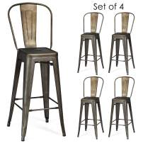 COSTWAY Metal Bar stools Set of 4, with Removable Back, Cafe Side Chairs with Rubber Feet, Stylish and Modern Chairs, for Kitchen, Dining Rooms, and Side Bar (Gun-Update, 30'')