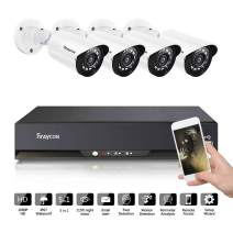 Rraycom 8CH Security Surveillance System HD-TVI 2MP Lite 5 in1 DVR with (4) 720P IP67 Weatherproof CCTV Cameras for Outdoor,115ft Night Vision,Support IP Cameras,Motion Alert, Remote Access,NO HDD