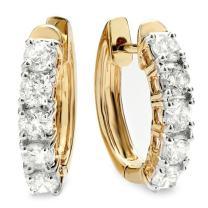 Dazzlingrock Collection 1.00 Carat (ctw) 14K Ladies Huggies Hoop Earrings 1 CT, Yellow Gold