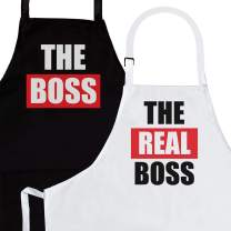 Nomsum The Boss & The Real Boss 2-Piece Kitchen Apron Set | Engagement, Wedding, Bridal Shower Gift for Bride