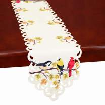 Simhomsen Fall Thanksgiving Table Runners, Colorful Birds On Tree Branches 13 × 68 inch