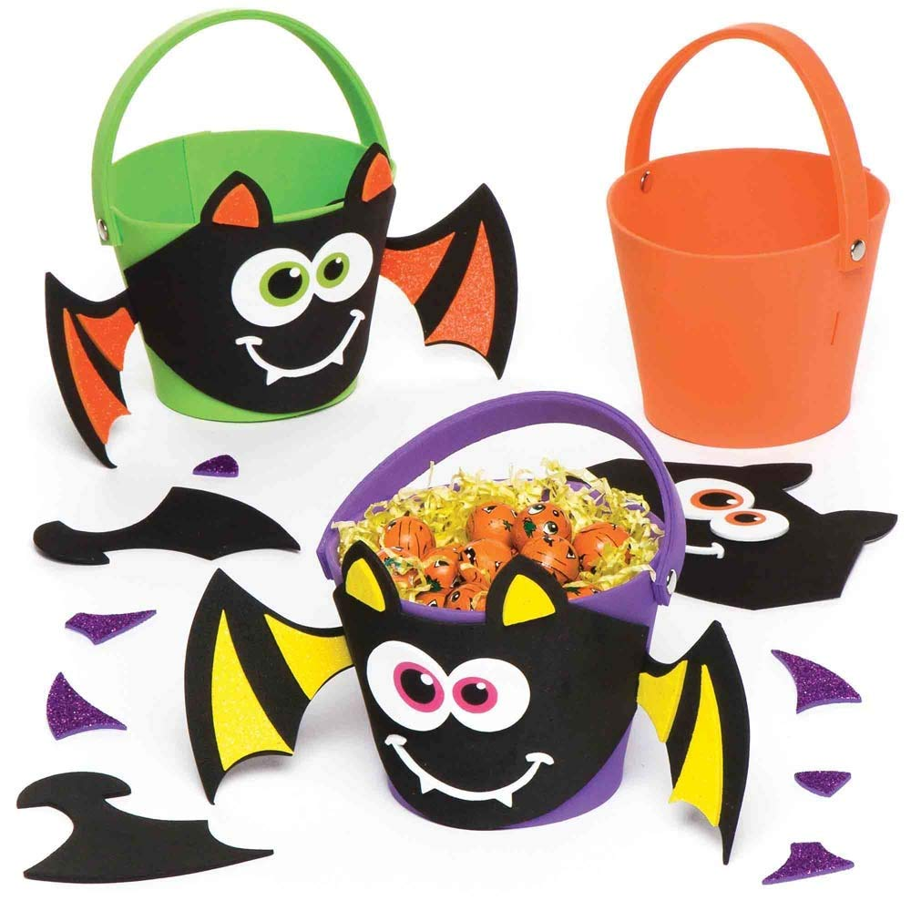 Baker Ross Halloween Bat Treat Bucket | Decorate with Stickers | Kids Fun Arts & Crafts Project | No Glue or Scissors Needed | Pack of 3 Trick-or-Treat Containers