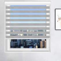 Smalody WOSSON Window Blinds Custom Cut to Size, Formaldehyde Removal Water-Proof Zebra Blinds, Dual Layer Roller Shades Sheer or Privacy, Light Control for Day and Night(Size:W35.5″×H64″Color:Grey