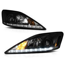 [For 2006-2013 Lexus IS250 IS350 Sedan Halogen Model] LED Strip Black Housing Projector Headlight Headlamp Assembly, Driver & Passenger Side