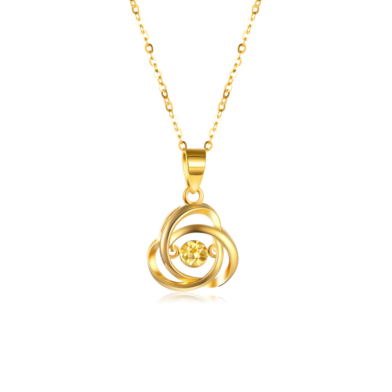 """Real 18k Yellow Gold Love Celtic Knot Necklace for Women, Anniversary Jewelry Gift for Her, 18"""""""