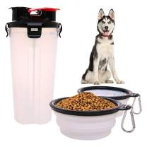 Dog Water Food Bottle for Walking Travelling Hiking Camping 2-In-1 Pet Food Container with 2 Collapsible Dog Bowls Outdoor Travel Water Dispenser Leak Proof Cup Portable Drinking Bottle for Cat Puppy