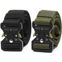 Tactical Belt for Men 2 Pack Military Style Heavy Duty Riggers Belt Quick Release Gun Belt Metal Buckle Utility Belts