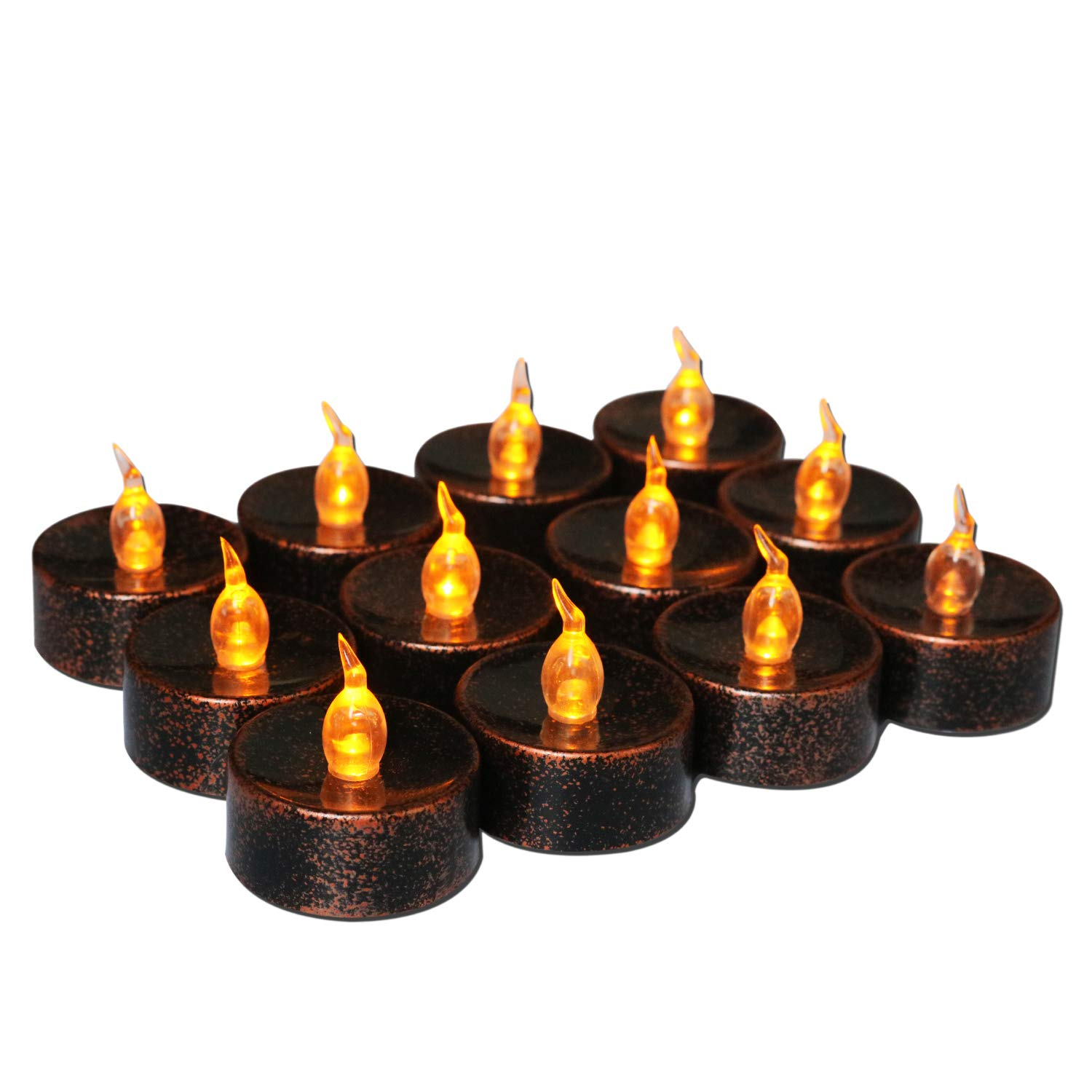 Youngerbaby Copper Tea Light Battery Operated Flickering Amber for Festival Wedding Party Decor, 1.4 Inch Flameless Tea Lights Vintage Tealights Led Candles for Holiday –12 Pack