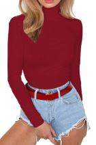 Meyeeka Womens Stretchy Turtleneck Long Sleeve Bodysuits Basic Bodycon Leotard