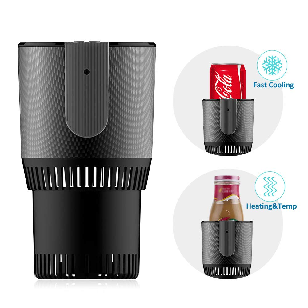 TekkPerry Auto Car Cup Warmer Cooler,Portable Smart 2 in 1 Heating Cooling Cup Can Drinks Holder DC 12V 3A for Water Coffee Milk Beverage for Traveler Road Tripper Outdoors (Without Display)
