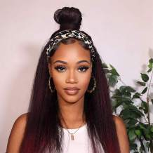 Nnzes Kinky Straight Headband Wig for Women 24 inches Long Synthetic Headband Wigs for Black Women Mixed Red Girl's Yaki Straight Hair for Daily Party Wear Easy to Wear