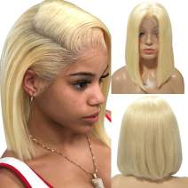 "Blonde Bob Wigs Real Human Hair Colored 613 Straight 13x4 Lace Frontal Wig for Black Women Short 10"" Glueless Thick 150% Density Lace Front Bob Cut Wigs"
