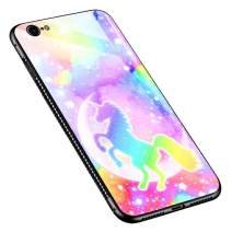 iPhone 6s Plus Case, Tempered Glass iPhone 6 Case Plus for Girls [Anti-Scratch] Fashion Cute Pattern Design Cover Case for iPhone 6/6s Plus - Colorful Unicorn
