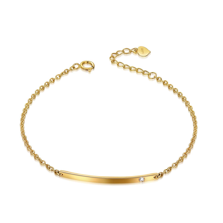 """SISGEM 14k Yellow Gold Bar Bracelet for Women, Real Gold Fine Jewelry Bracelet, 6.5""""-7.5"""""""