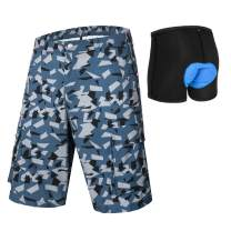qualidyne Men's 3D Padded MTB Shorts Lightweight Mountain Bike Shorts, Loose Fit Cycling Shorts