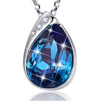 BONLAVIE Colorful Waterdrop Pendant Necklace Austrian Crystal Chain Jewelry for Women Girls Gifts Packing