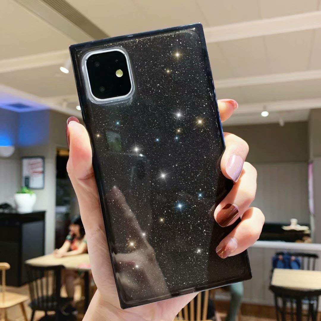 iPhone 11 Transparent Case,Tzomsze iPhone 11 Bling Glitter Case Reinforced Corners TPU Cushion,Crystal Clear Slim Cover Shock Absorption TPU Shell-Black