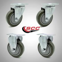 "Service Caster – 4"" Gray Polyurethane Wheel – 2 Stainless Steel Swivel and 2 Stainless Steel Rigid Casters – Set of 4"