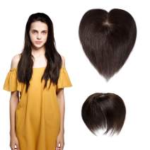 SEGO Hair Topper Pieces Silk Base Real Human Hair Clip in Top Hairpieces for Women Replacement Hand-made 100% Density for Hair Loss Thinning Covering Grey Hair #2 Dark brown 6''20g