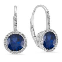 Dazzlingrock Collection 14K 7 MM Each Round Lab Created Gemstone & White Diamond Ladies Hoop Earrings, White Gold
