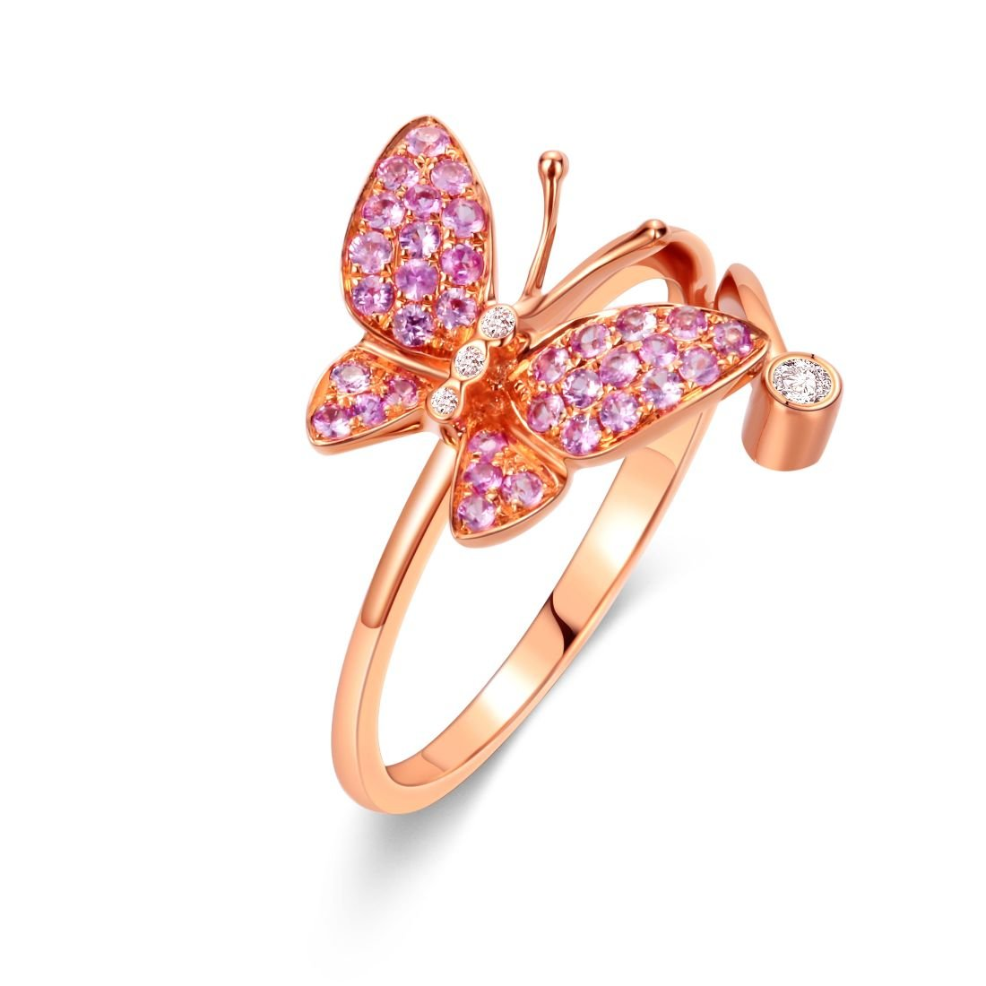 Carleen 18K Solid Rose Gold Genuine Pink Natural Sapphire Diamond Butterfly Ring Dainty Fine Jewelry Rings for Women Girls,Size 5 6 7 8
