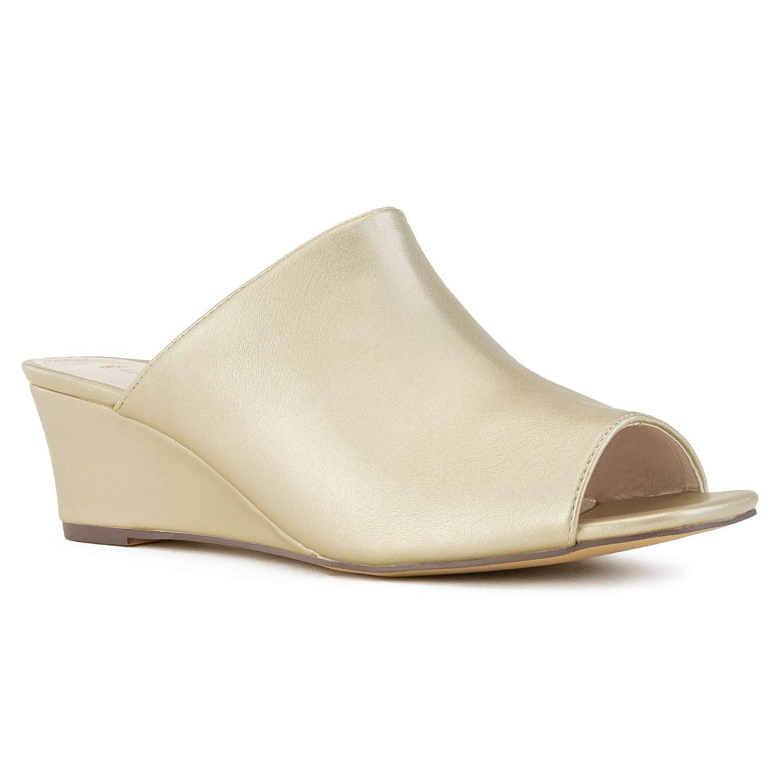 RF ROOM OF FASHION Women's True Wide Width Slip On Low Platform Heel Mule Wedge Sandals - Plus Size Friendly