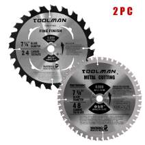 "Toolman Premium Multifunctional Carbide-Tipped Circular Saw Blade Universal Fit 7-1/4"" 5/8"" 60T Table Miter Cutting For Wood Chipboard works with DeWalt Makita Ryobi S002004"