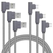 Double 90 Degree Right Angle Game Type C Charger Cable (Gray, 3FT)