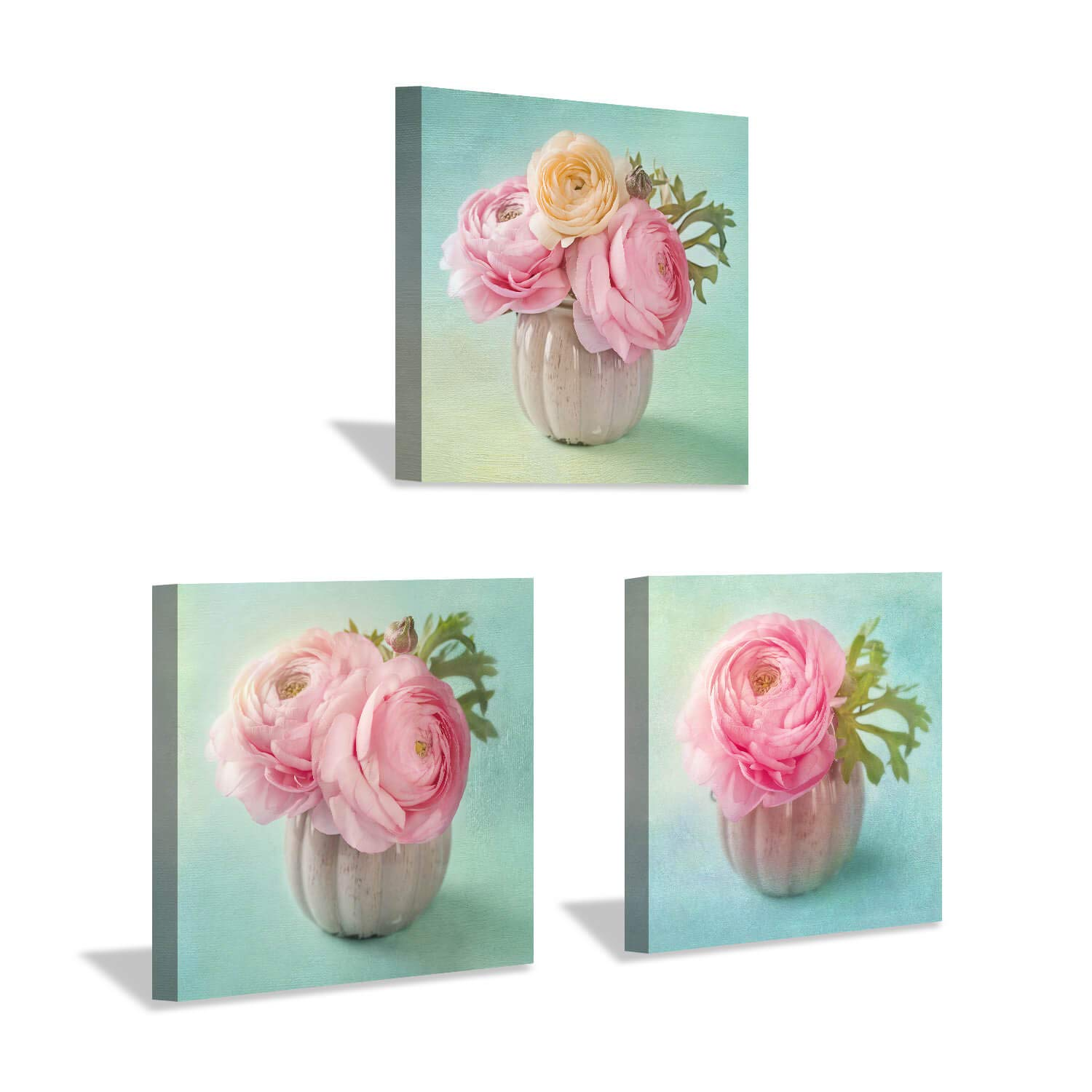 Hardy Gallery Floral Pictures Canvas Artwork Prints: Pink Rose Flower in Vase Pictures Wall Art on Wrapped Canvas for Bathroom (16'' x 16'' x 3 Panels)