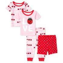 The Children's Place Baby Girls' 4 Piece Short Sleeve Pajama Set