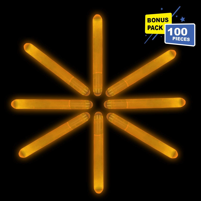 Lumistick 2 Inch Mini Glowsticks - Ultra Bright Glow in The Dark Party Favor Neon Light Stick - Freshly Made Illuminating Water Proof Fluorescent Sticks Brightest 4-6 hrs (Orange, 100 Glow Sticks)