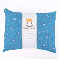 HappyLuxe Kids Pillow and Pillowcase, 100% Cotton, 13X18, for Girls and Boys, Camping, Sleepovers, Hypoallergenic, Machine Washable, Great Gift, Made in USA (Yacht Club)