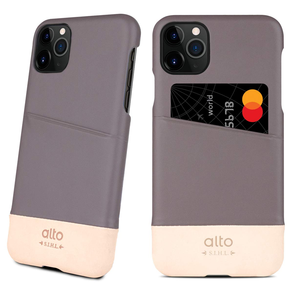Alto Metro Compatible with iPhone 11 Pro (5.8 inch), Premium Handmade Italian Leather Wallet Case with Card Holder Design (Cement/Original)