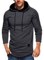 Nicetage Men's Tops Casual Pullover Hoodie Pleated Raglan Long Sleeve Hooded T-Shirt Slim Fit Sweatshirt