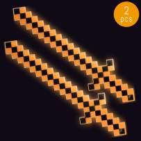 Lumistick LED Light Up Diamond Pixel Sword 24 Inch   Multicolor Ultra Bright Flashing Light Motion Activated Dagger Blade Glowing Illuminates Sword (2 Swords, Halloween)