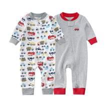 Teach Leanbh Baby 2-Pack Footless Pajamas Cotton Long Sleeve Printing 2 Way Zipper Romper Jumpsuit Sleep and Play 3-24 Months