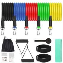 12 Pack Resistance Bands Set Workout Bands, 5 Stackable Exercise Bands 1 Loop Resistance Bands 2 Core Sliders – Door Anchor Handles Ankle Straps Carry Bag