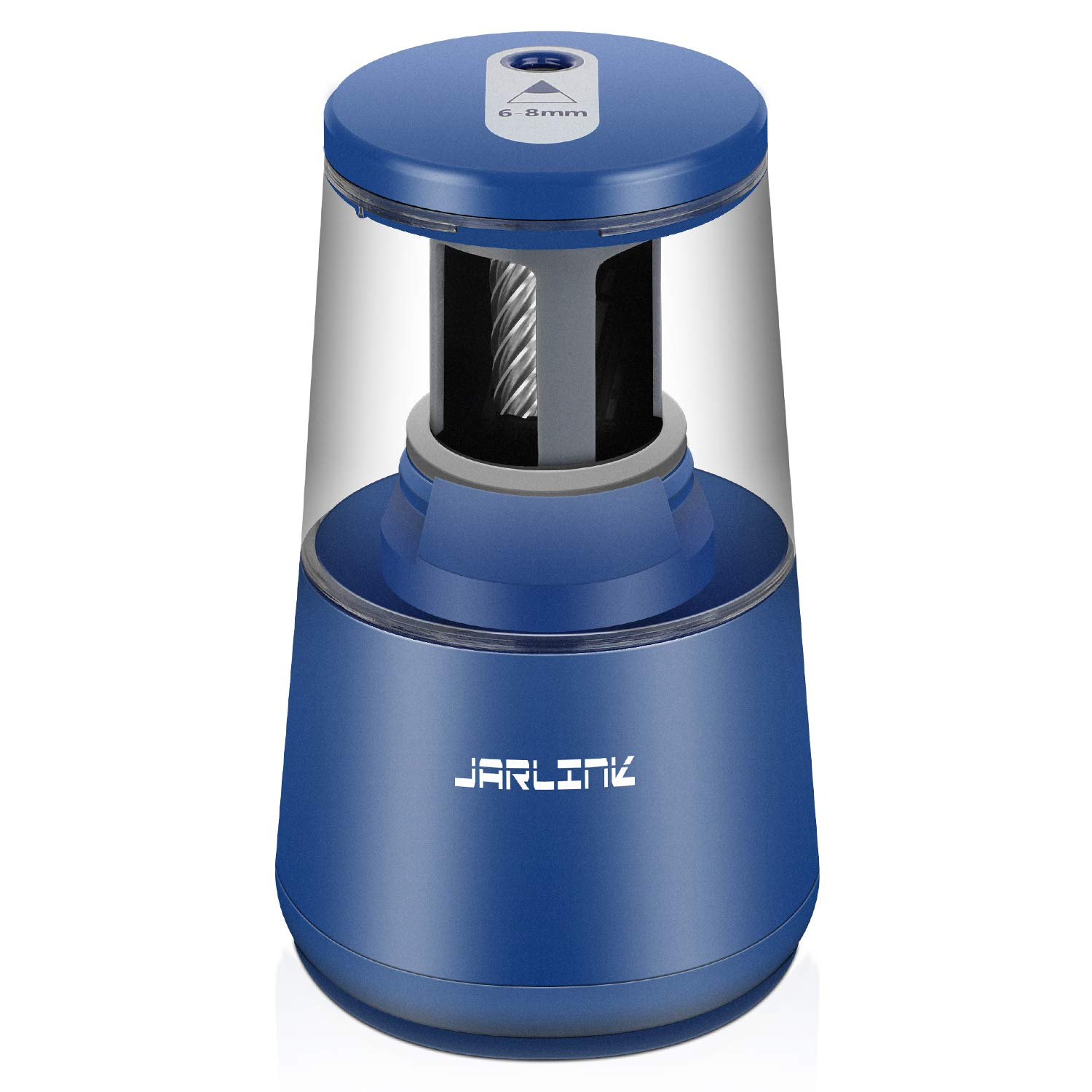 JARLINK Electric Pencil Sharpener, Heavy-Duty Helical Blade to Fast Sharpen, Auto Stop for No.2/Colored Pencils(6-8mm), USB/Battery Operated in School Classroom/Office/Home (Blue)