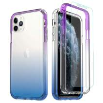 Misscase iPhone 11 Pro MAX Clear Case,[Tempered Glass Screen Protector] Clear Heavy Duty Shockproof Rugged Protection Transparent Soft TPU Protective Case for iPhone 11 Pro MAX Blue & Purple