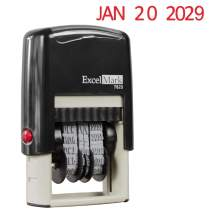 ExcelMark 7820 Self-Inking Rubber Date Stamp – Great for Shipping, Receiving, Expiration and Due Dates – Red Ink