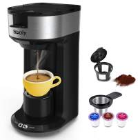 Updated Ground Coffee and Pod Coffee Maker Single Cup with Fast Brew Technology, Small Coffee Maker for K Cup, Single Serve Coffee Machine with Auto Shut-off And Self Cleaning