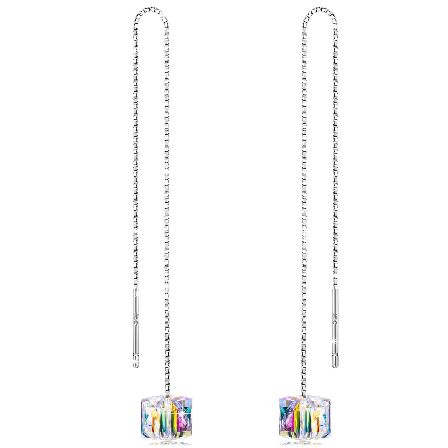 LADY COLOUR Mother's Day Jewelry Gifts for Mom, A Little Romance Series 925 Sterling Silver Dangle Earrings/Choker Necklace, Crystals from Swarovski Hypoallergenic Jewelry Gift BoxPacking