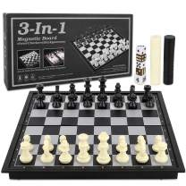 "LBLA Travel Chess Set for Kids and Adults 3 in 1 Magnetic Chess Checkers Backgammon Folding Board Games Educational Toys with Storage Bag, 9.8"" x 9.8"""