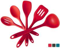 """StarPack Premium Silicone Kitchen Utensil Set (5 Piece Set, 10.5"""") - High Heat Resistant to 600°F, Hygienic One Piece Design Spatulas, Serving and Mixing Spoons (Cherry Red)"""
