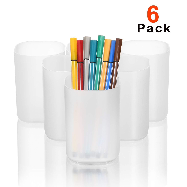 Marbrasse Desk Organizer - 6Pcs Pen Holder Cup Storage,Pen Organizer Stationery Caddy for Office, School, Home Supplies Translucent White