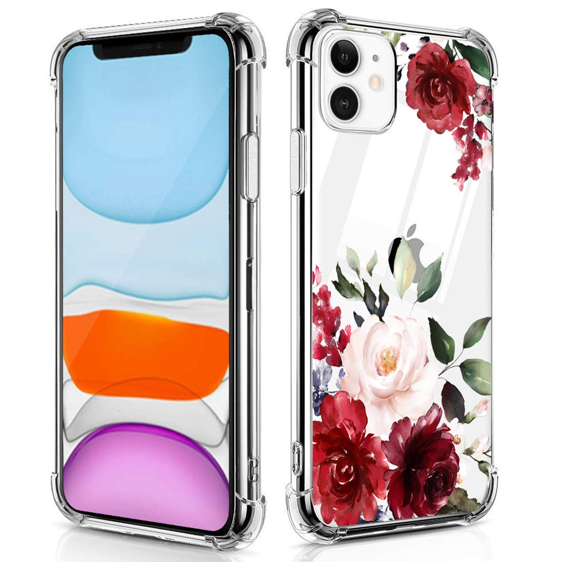 RicHyun Case for Women Girls, Red Rose Flowers Pattern Soft Flexible TPU Shockproof Cases for iPhone 11