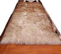 HUAHOO Faux Fur Sheepskin Rug Coffee White Kids Carpet Soft Faux Sheepskin Chair Cover Home Décor Accent for a Kid's Room,Childrens Bedroom, Nursery, Living Room or Bath. 2' x 3' Rectangle