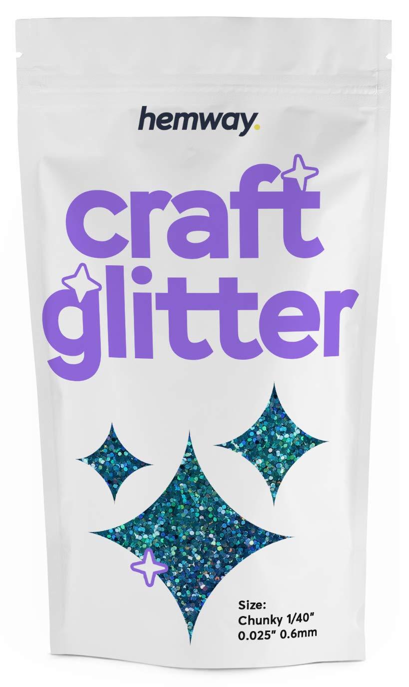 "Hemway Craft Glitter Chunky 1/40"" 0.025"" 0.6MM (Ocean Blue Holographic)"