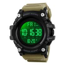Mens Watches, Waterproof Military Dightal Watch with Calendar Chronograph Countdown Timer Alarm LED Backlight Running Sports Watch